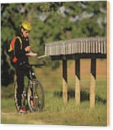 Checking Mail At A Long Row Of Mailboxes Wood Print