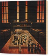 Checkmate Wood Print by Evelina Kremsdorf