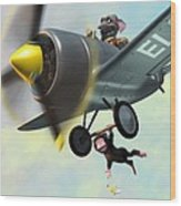 Cheeky Monkey Hanging From Plane Wood Print by Martin Davey