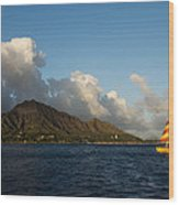 Cheerful Orange Catamaran And Diamond Head - Waikiki - Hawaii Wood Print