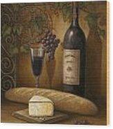 Cheese And Wine Wood Print