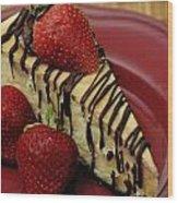 Cheesecake With Strawberries Wood Print