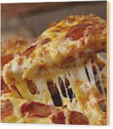 Cheesy Pepperoni Pizza Wood Print