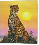 Cheetah And Cubs Wood Print by MGL Studio - Chris Hiett