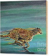 Cheetah Run Wood Print