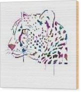Cheetah Watercolor - White Wood Print