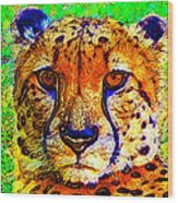 Face Of The Cheetah Wood Print