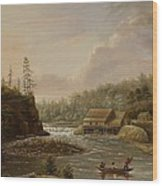 Cheevers Mill On The St. Croix River Wood Print by Henry Lewis