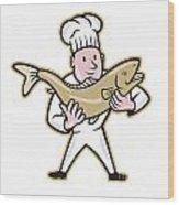 Chef Cook Handling Salmon Fish Standing Wood Print