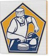 Chef Cook Slicing Ham Retro Wood Print