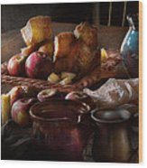 Chef - Food - A Tribute To Rembrandt - Apples And Rolls  Wood Print