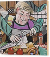 Chef With Heart Wood Print