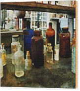 Chemistry - Assorted Chemicals In Bottles Wood Print