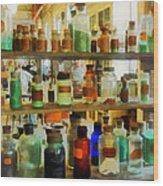 Chemistry - Bottles Of Chemicals Green And Brown Wood Print