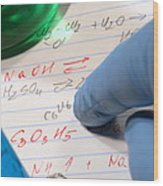 Chemistry Formulas In Science Research Lab Wood Print