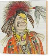 Cherokee In Orange Wood Print by Lew Davis