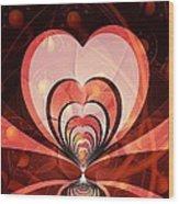 Cherries And Hearts Wood Print