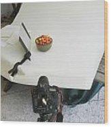 Cherries And Reflector Wood Print