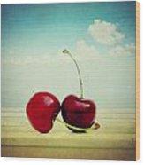 Cherries Love Wood Print