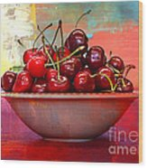 Cherries On The Table With Textures Wood Print