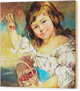 Cherry Basket Girl Wood Print