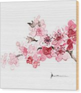 Cherry Blossom Branch Watercolor Art Print Painting Wood Print
