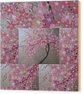 Cherry Blossom Collage Wood Print