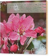 Cherry Blossom Greeting Card With Verse Wood Print