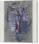 Cherry Blossom Red Abstract Wood Print