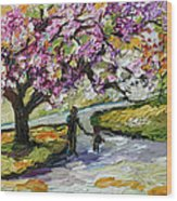 Cherry Blossom Tree Walk In The Park Wood Print