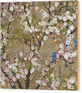 Cherry Blossoms And Blue Birds Wood Print by Blenda Studio