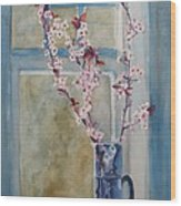 Cherry Blossoms In A Blue Pitcher Wood Print