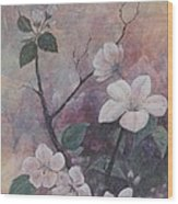 Cherry Blossoms In The Cosmos Wood Print by Sandy Clift