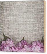 Cherry Blossoms On Linen  Wood Print by Elena Elisseeva