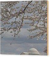 Cherry Blossoms With Jefferson Memorial - Washington Dc - 011313 Wood Print