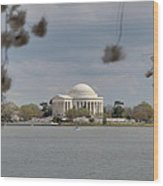 Cherry Blossoms With Jefferson Memorial - Washington Dc - 011318 Wood Print