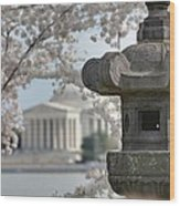 Cherry Blossoms With Jefferson Memorial - Washington Dc - 011323 Wood Print by DC Photographer