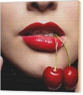 Cherry Girl Wood Print