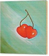 Cherry Hearts Wood Print by Heather Matthews