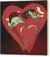 Cherry-hug Wood Print by Dorothy Rafferty