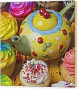 Cherry Teapot And Cupcakes Wood Print
