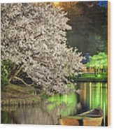 Cherry Blossom Temple Boat Wood Print