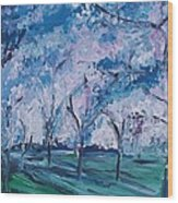 Cherry Trees Impressionism Wood Print