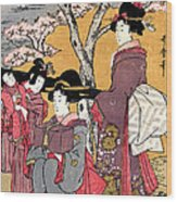 Cherry-viewing At Gotenyama Wood Print