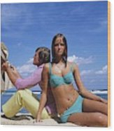 Cheryl Tiegs Modeling A Bikini At A Beach Wood Print