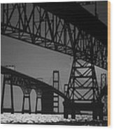 Chesapeake Bay Bridge At Annapolis Wood Print by Skip Willits