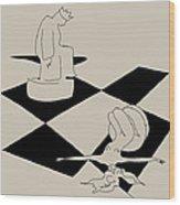 Chess And Art Wood Print by Frida Kaas