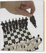 Chess Being Played With Little People Wood Print