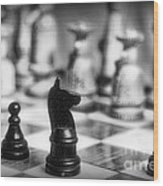 Chess Game In Black And White Wood Print