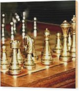 Chess Set  Wood Print by Diane Merkle